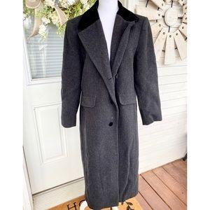 Vintage Full Length Wool Coat Black Velvet Collar